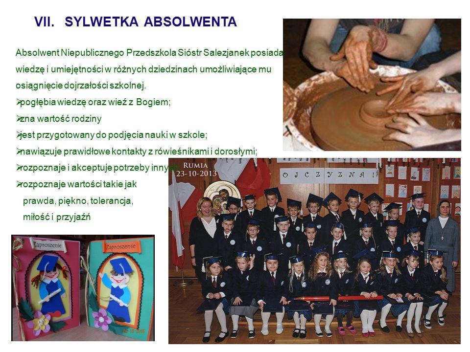 VII. SYLWETKA ABSOLWENTA Absolwent Niepublicznego Przedszkola Sióstr Salezjanek posiada wiedzę i umiejętności w różnych dziedzinach umożliwiające mu o