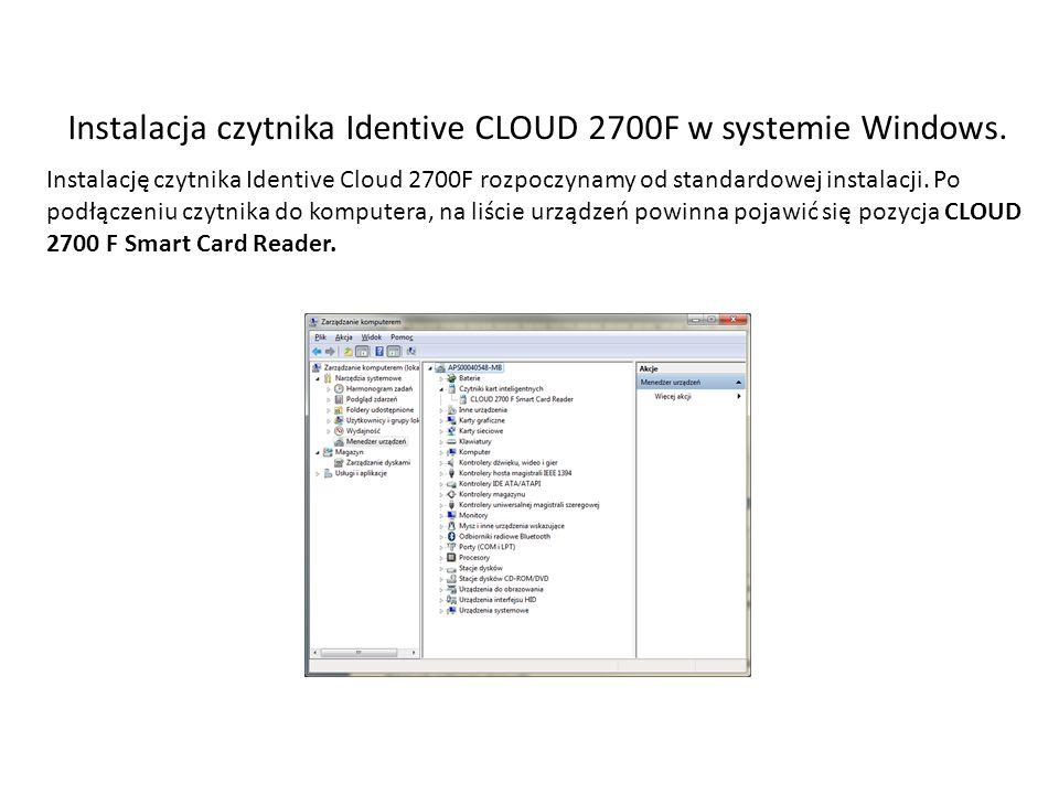 Aby urządzenie działało z aplikacją mMedica musi zostać zainstalowanej jako SCR33x USB Smart Card Reader.