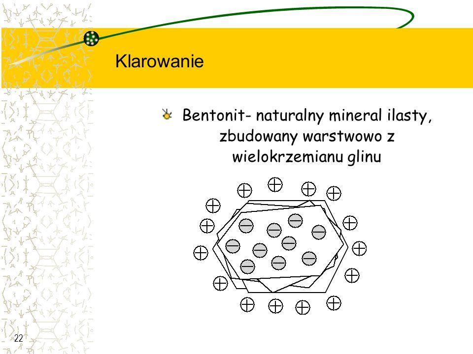 22 Bentonit- naturalny mineral ilasty, zbudowany warstwowo z wielokrzemianu glinu Klarowanie