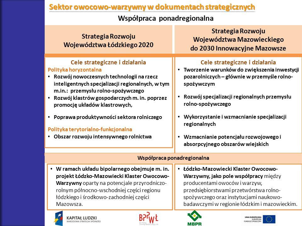 Sektor owocowo-warzywny w dokumentach strategicznych Współpraca ponadregionalna Cele strategiczne i działania Polityka horyzontalna Rozwój nowoczesnyc
