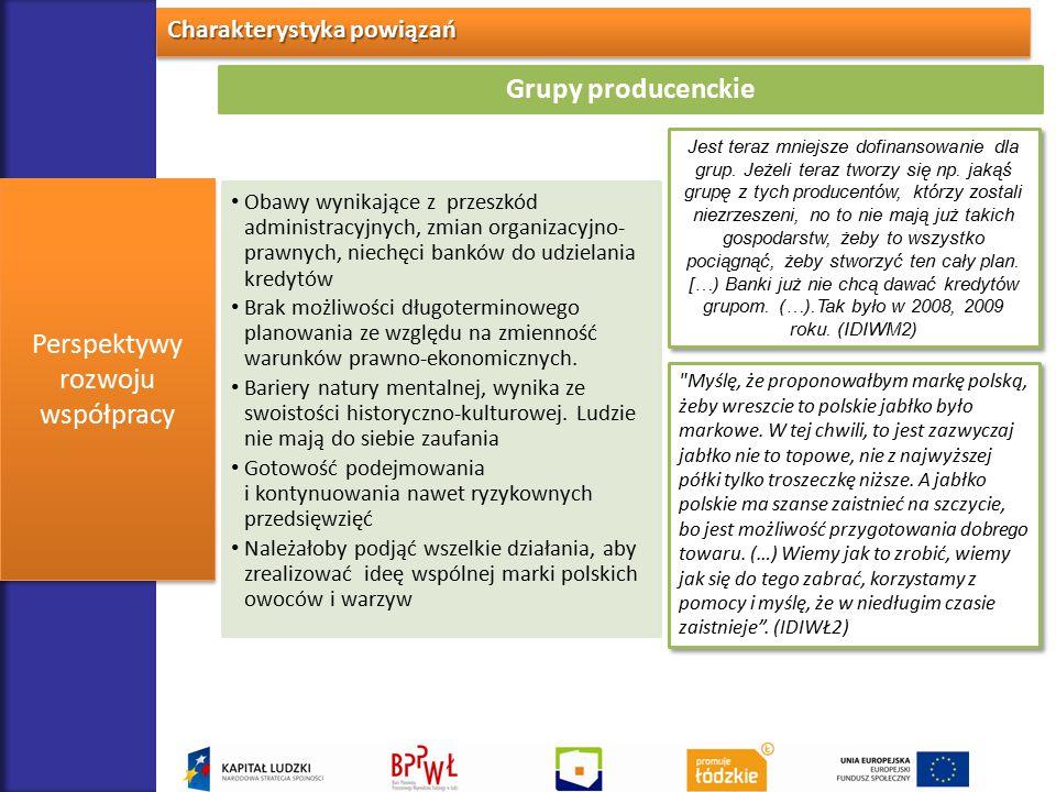 Charakterystyka powiązań Perspektywy rozwoju współpracy Grupy producenckie Obawy wynikające z przeszkód administracyjnych, zmian organizacyjno- prawny