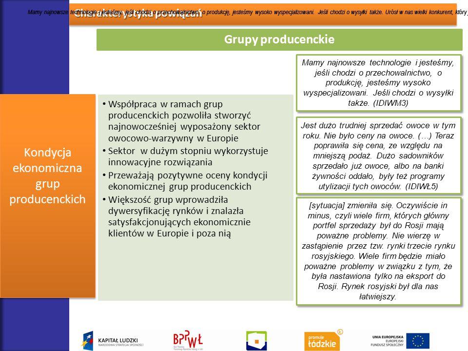 Charakterystyka powiązań Kondycja ekonomiczna grup producenckich Grupy producenckie Współpraca w ramach grup producenckich pozwoliła stworzyć najnowoc