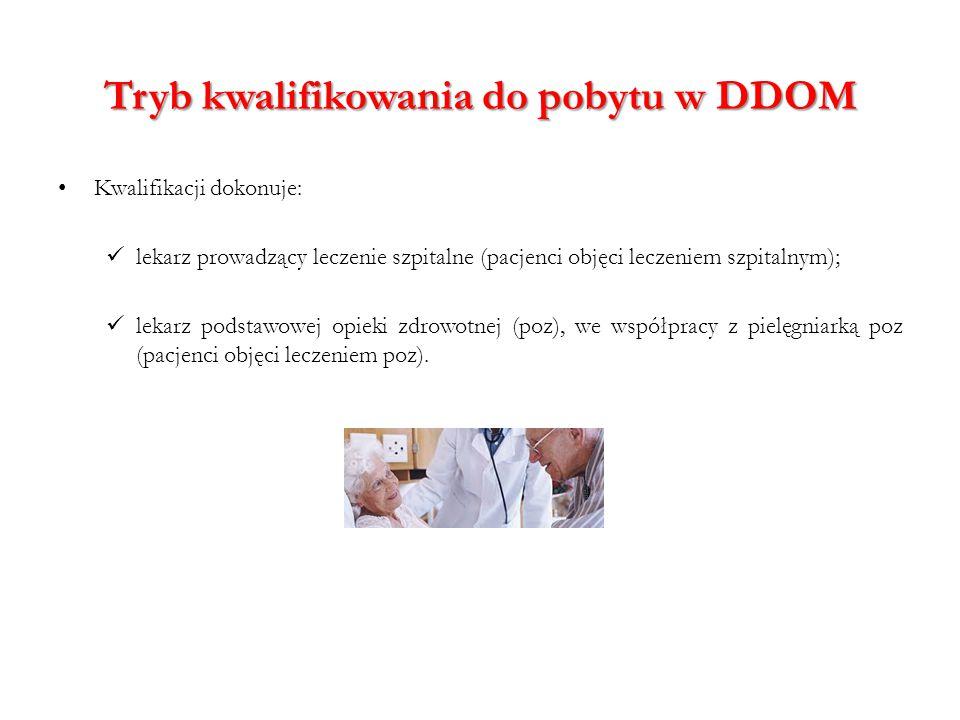 Tryb kwalifikowania do pobytu w DDOM Kwalifikacji dokonuje: lekarz prowadzący leczenie szpitalne (pacjenci objęci leczeniem szpitalnym); lekarz podsta