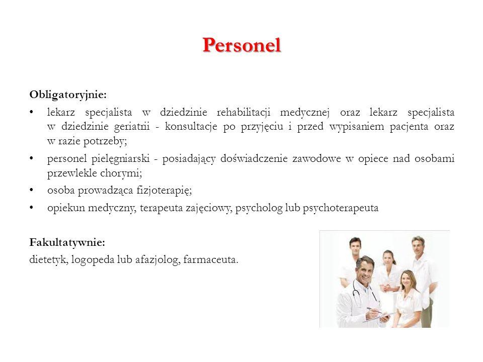Personel Obligatoryjnie: lekarz specjalista w dziedzinie rehabilitacji medycznej oraz lekarz specjalista w dziedzinie geriatrii - konsultacje po przyj