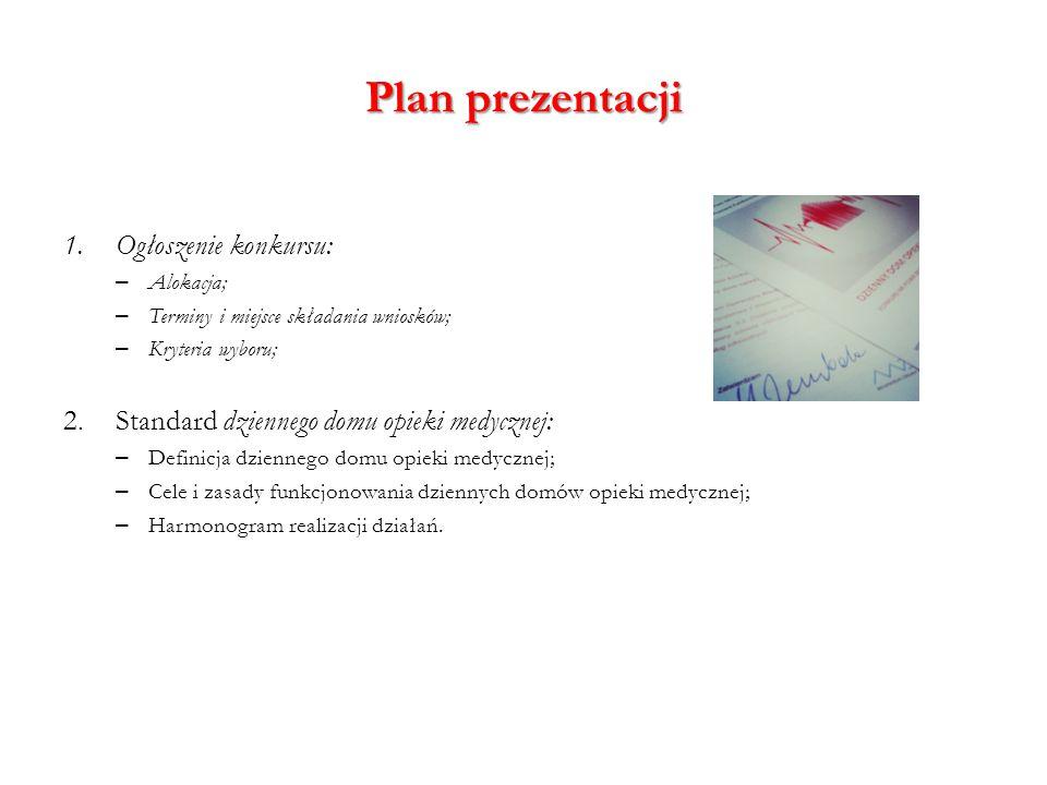 Plan prezentacji 1.Ogłoszenie konkursu: – Alokacja; – Terminy i miejsce składania wniosków; – Kryteria wyboru; 2.Standard dziennego domu opieki medycz