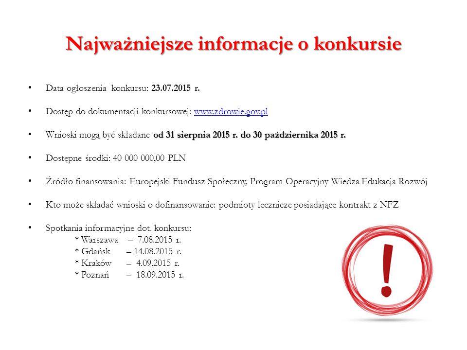 Najważniejsze informacje o konkursie Data ogłoszenia konkursu: 23.07.2015 r. Dostęp do dokumentacji konkursowej: www.zdrowie.gov.plwww.zdrowie.gov.pl