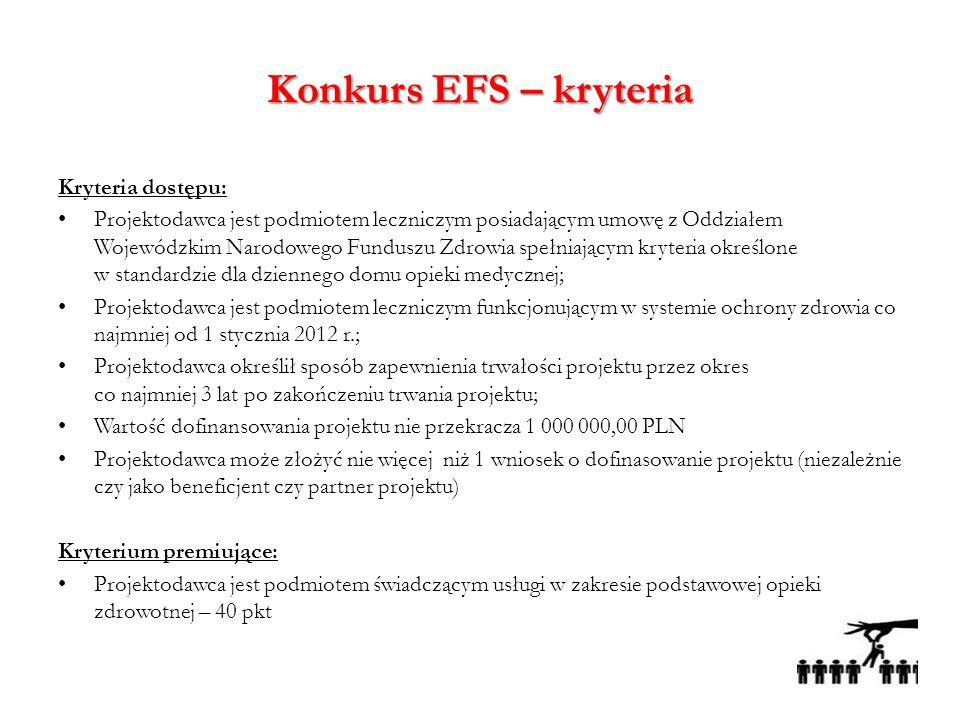 Konkurs EFS – kryteria Kryteria dostępu: Projektodawca jest podmiotem leczniczym posiadającym umowę z Oddziałem Wojewódzkim Narodowego Funduszu Zdrowi