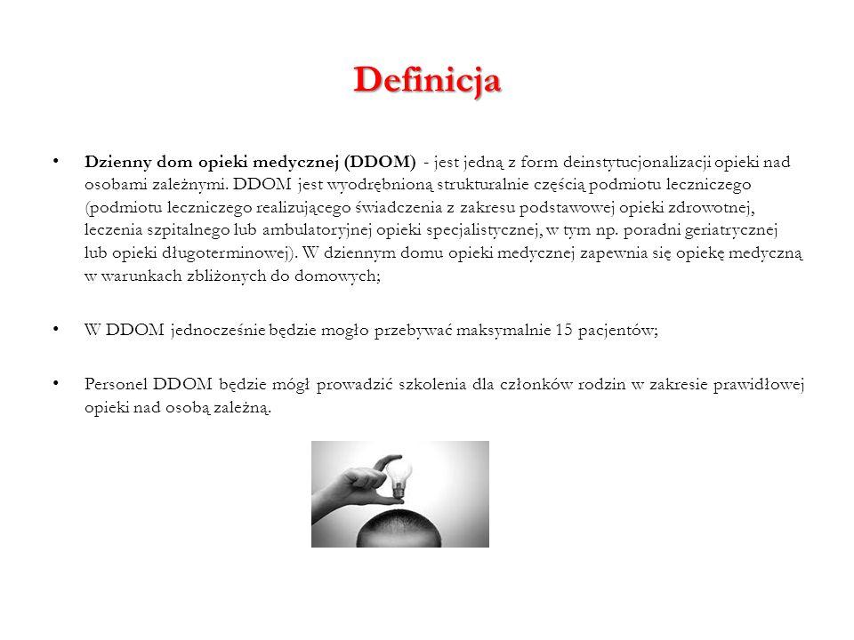 Definicja Dzienny dom opieki medycznej (DDOM) - jest jedną z form deinstytucjonalizacji opieki nad osobami zależnymi. DDOM jest wyodrębnioną struktura