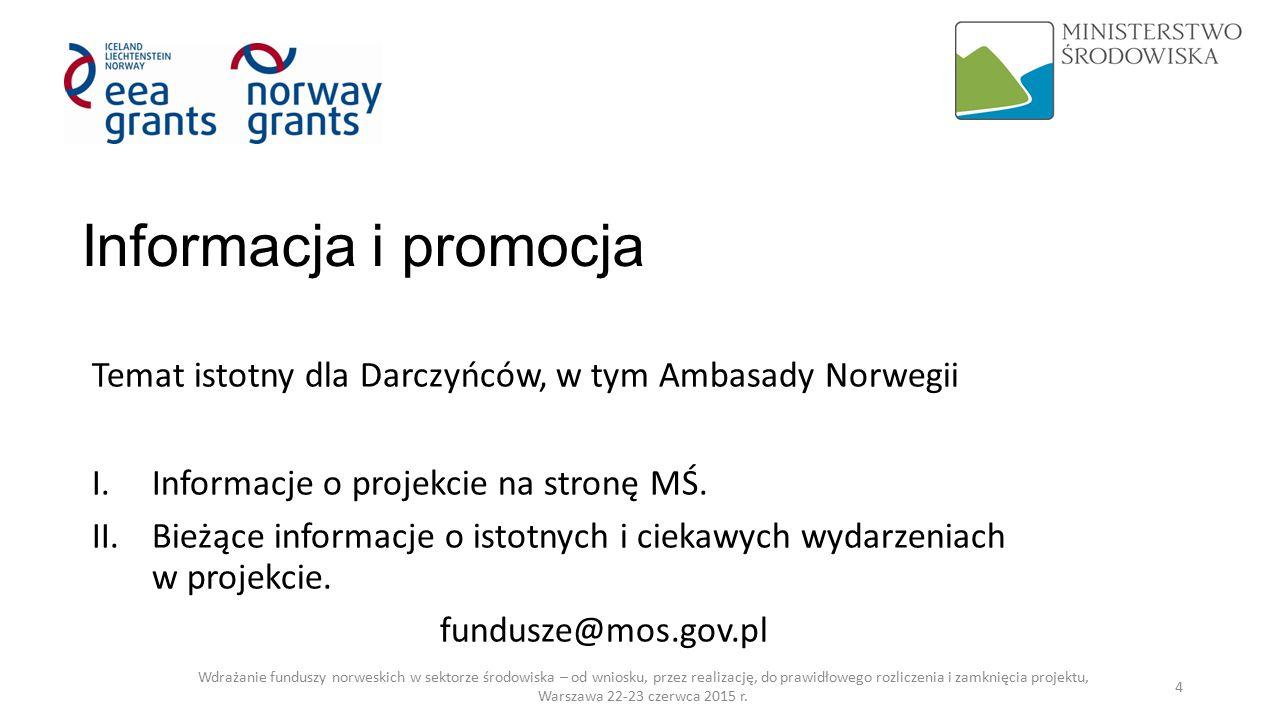Informacja i promocja Temat istotny dla Darczyńców, w tym Ambasady Norwegii I.Informacje o projekcie na stronę MŚ.