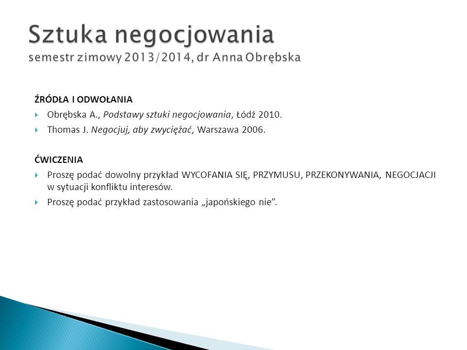 ŹRÓDŁA I ODWOŁANIA  Obrębska A., Podstawy sztuki negocjowania, Łódź 2010.