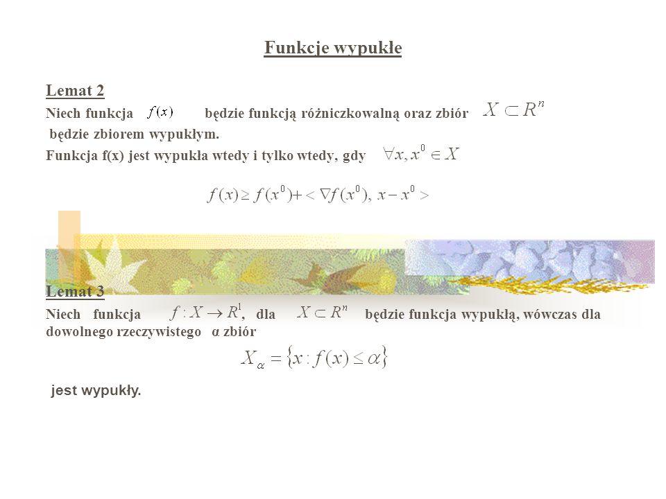 Lemat 2 Niech funkcja będzie funkcją różniczkowalną oraz zbiór będzie zbiorem wypukłym.