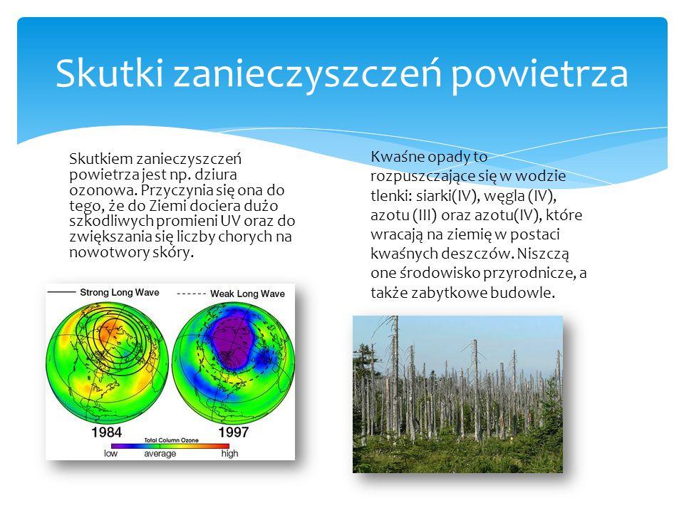Skutkiem zanieczyszczeń powietrza jest np. dziura ozonowa. Przyczynia się ona do tego, że do Ziemi dociera dużo szkodliwych promieni UV oraz do zwięks