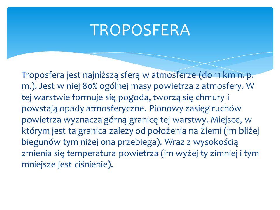 Troposfera jest najniższą sferą w atmosferze (do 11 km n. p. m.). Jest w niej 80% ogólnej masy powietrza z atmosfery. W tej warstwie formuje się pogod