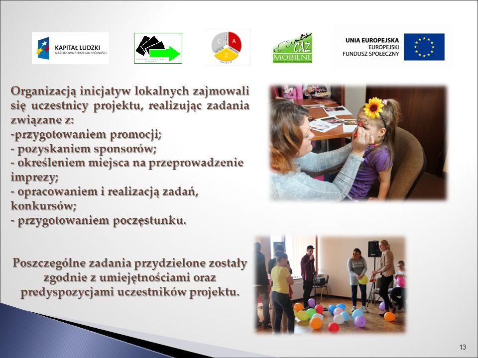 13 Organizacją inicjatyw lokalnych zajmowali się uczestnicy projektu, realizując zadania związane z: -przygotowaniem promocji; - pozyskaniem sponsorów