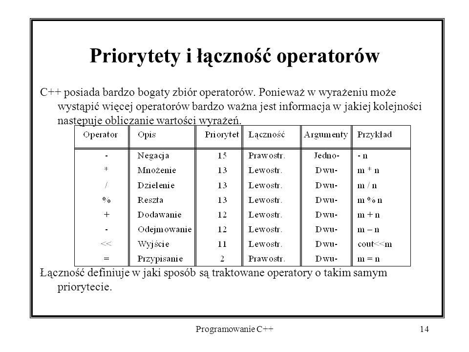 Programowanie C++14 Priorytety i łączność operatorów C++ posiada bardzo bogaty zbiór operatorów. Ponieważ w wyrażeniu może wystąpić więcej operatorów
