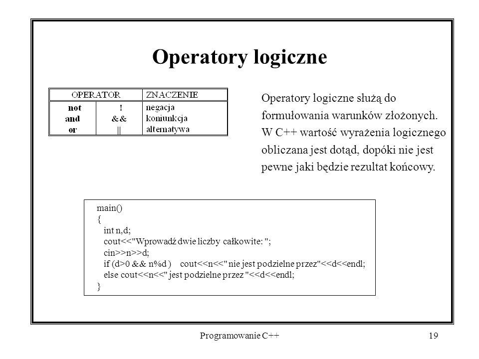Programowanie C++19 Operatory logiczne Operatory logiczne służą do formułowania warunków złożonych. W C++ wartość wyrażenia logicznego obliczana jest