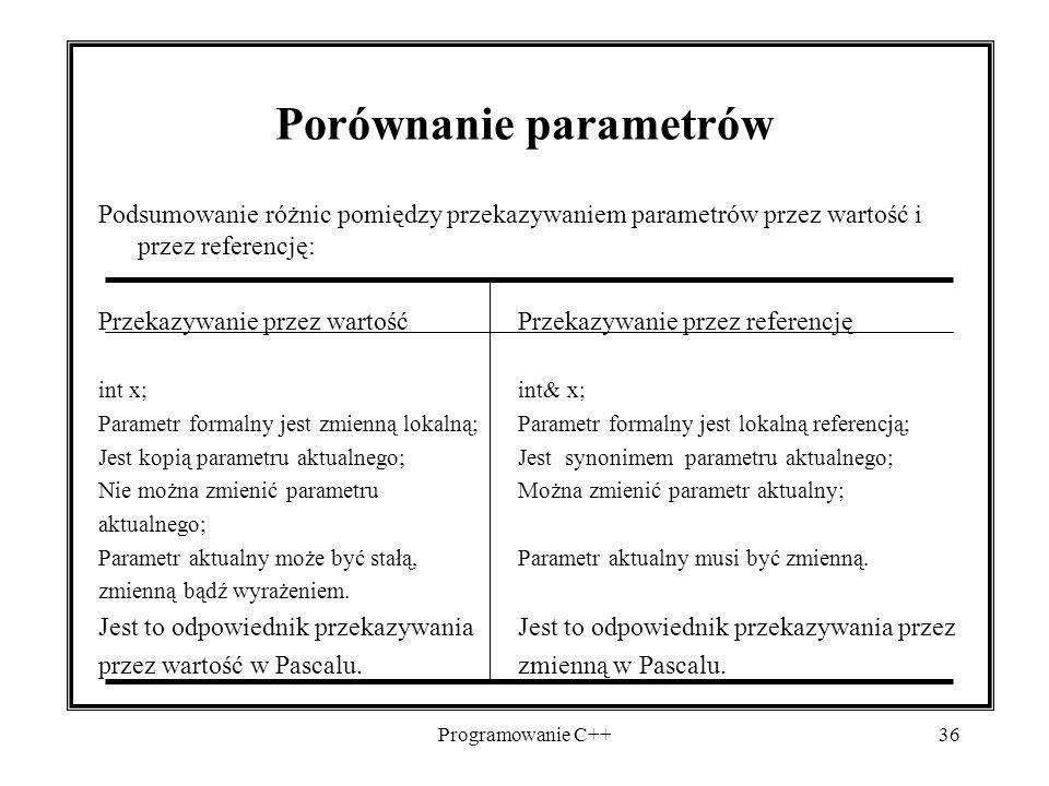 Programowanie C++36 Porównanie parametrów Podsumowanie różnic pomiędzy przekazywaniem parametrów przez wartość i przez referencję: Przekazywanie przez
