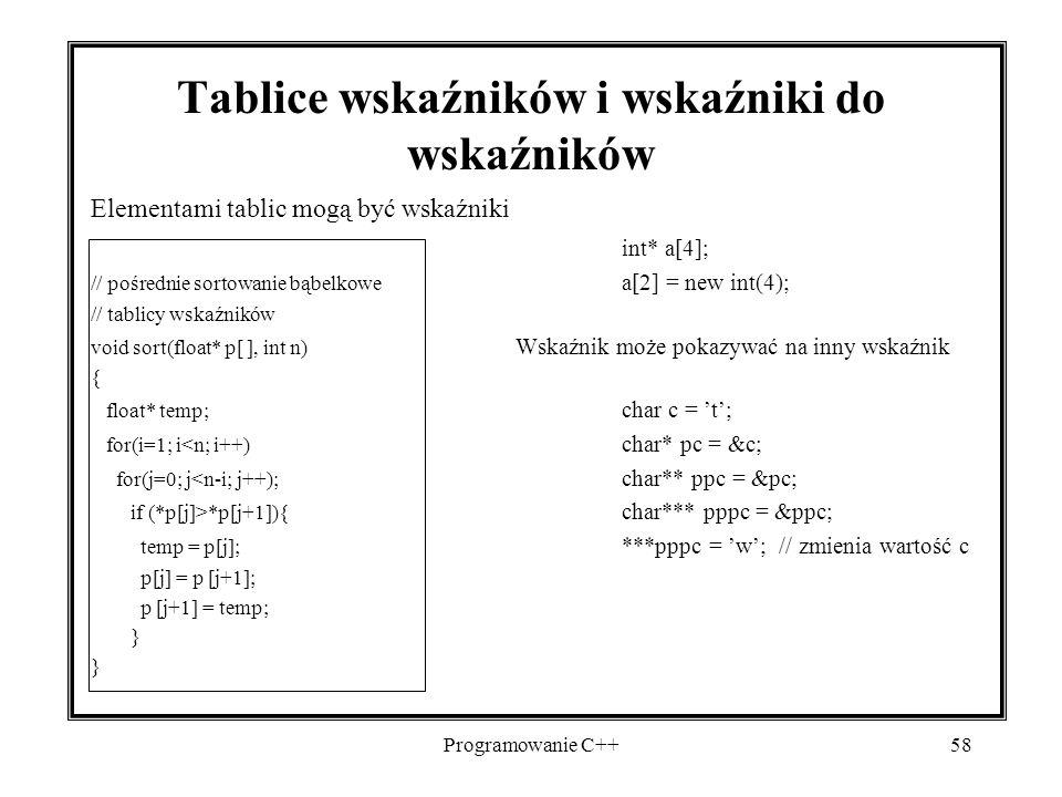 Programowanie C++58 Tablice wskaźników i wskaźniki do wskaźników Elementami tablic mogą być wskaźniki int* a[4]; // pośrednie sortowanie bąbelkowe a[2
