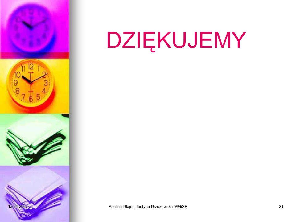 13.04.2007Paulina Błajet, Justyna Brzozowska WGiSR21 DZIĘKUJEMY