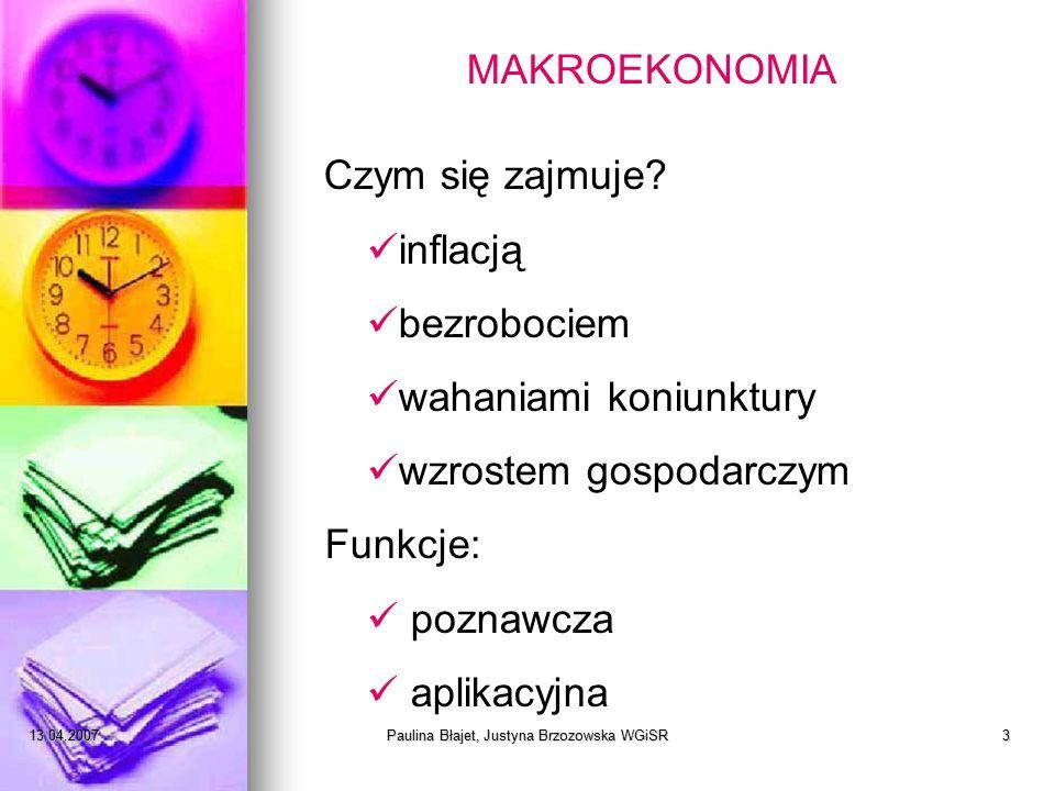 13.04.2007Paulina Błajet, Justyna Brzozowska WGiSR14 QUIZ EKONOMICZNY Badania makroekonomiczne koncentrują się na: a)najważniejszych problemach ekonomicznych b)funkcjonowaniu pojedynczych podmiotów gospodarczych i poszczególnych rynków c)szerokich problemach ogólnogospodarczych, jak inflacja, bezrobocie, wzrost gospodarczy