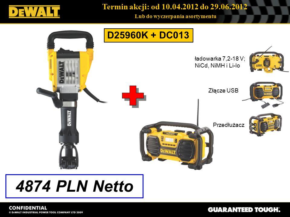 Termin akcji: od 10.04.2012 do 29.06.2012 Lub do wyczerpania asortymentu D25960K + DC013 4874 PLN Netto ładowarka 7,2-18 V; NiCd, NiMH i Li-Io Złącze USB Przedłużacz