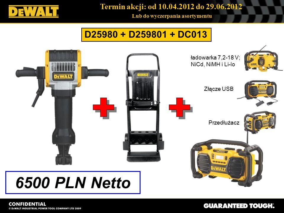 Termin akcji: od 10.04.2012 do 29.06.2012 Lub do wyczerpania asortymentu D25980 + D259801 + DC013 6500 PLN Netto ładowarka 7,2-18 V; NiCd, NiMH i Li-Io Złącze USB Przedłużacz
