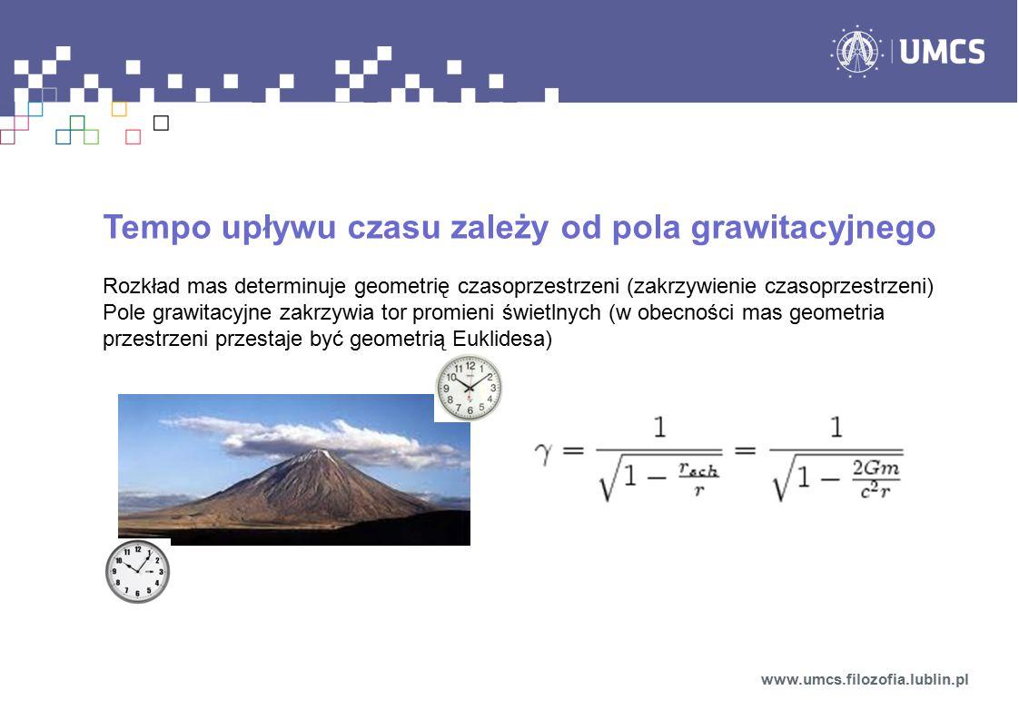 Tempo upływu czasu zależy od pola grawitacyjnego Rozkład mas determinuje geometrię czasoprzestrzeni (zakrzywienie czasoprzestrzeni) Pole grawitacyjne zakrzywia tor promieni świetlnych (w obecności mas geometria przestrzeni przestaje być geometrią Euklidesa) www.umcs.filozofia.lublin.pl