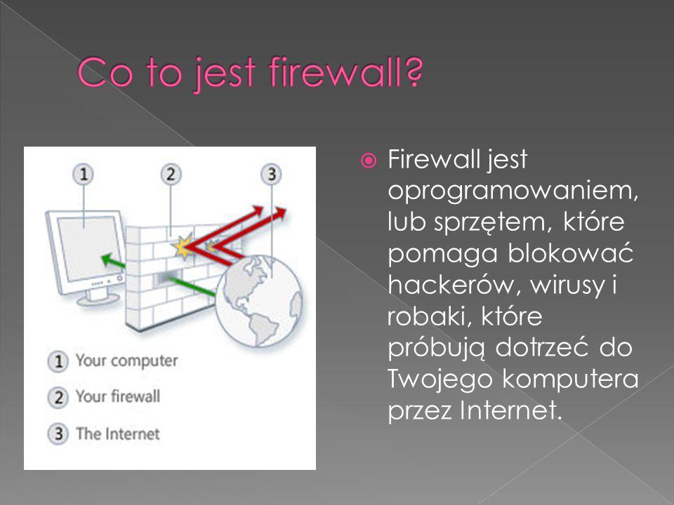  Firewall jest oprogramowaniem, lub sprzętem, które pomaga blokować hackerów, wirusy i robaki, które próbują dotrzeć do Twojego komputera przez Inter