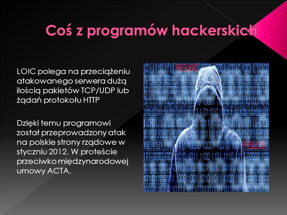 LOIC polega na przeciążeniu atakowanego serwera dużą ilością pakietów TCP/UDP lub żądań protokołu HTTP Dzięki temu programowi został przeprowadzony at