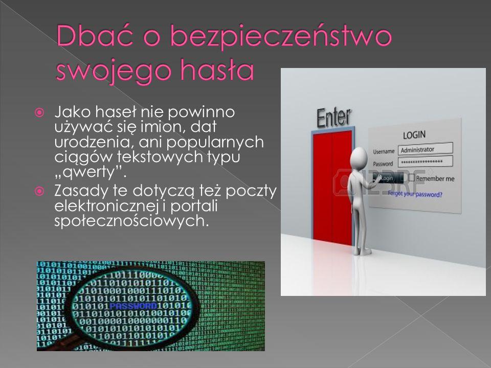 …swoich:  Haseł  Loginów  Kodów PIN  Kodów CVV2  Numerów kart
