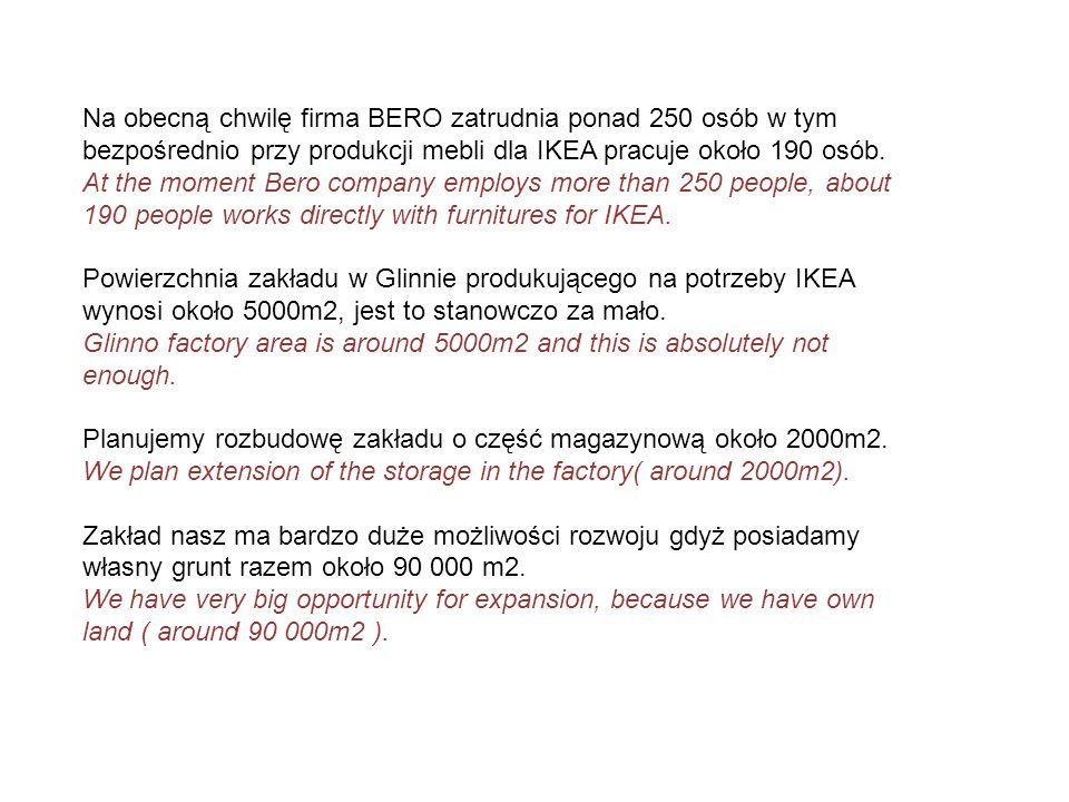 Na obecną chwilę firma BERO zatrudnia ponad 250 osób w tym bezpośrednio przy produkcji mebli dla IKEA pracuje około 190 osób. At the moment Bero compa