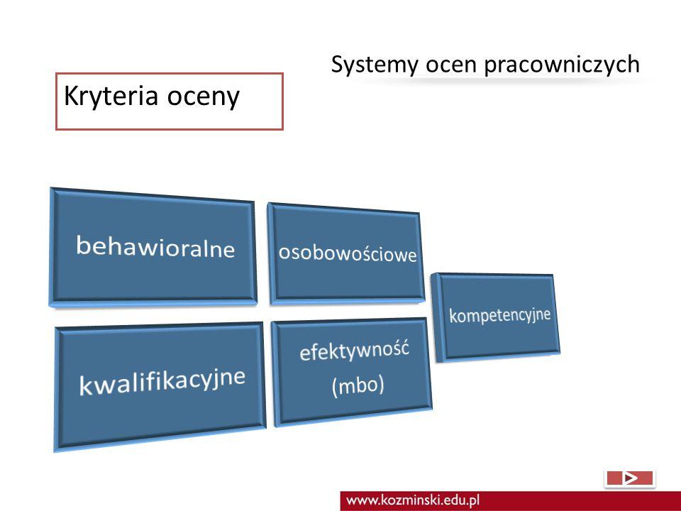Kryteria oceny Systemy ocen pracowniczych