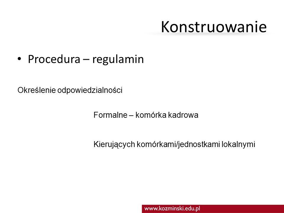 Konstruowanie Procedura – regulamin Określenie odpowiedzialności Formalne – komórka kadrowa Kierujących komórkami/jednostkami lokalnymi