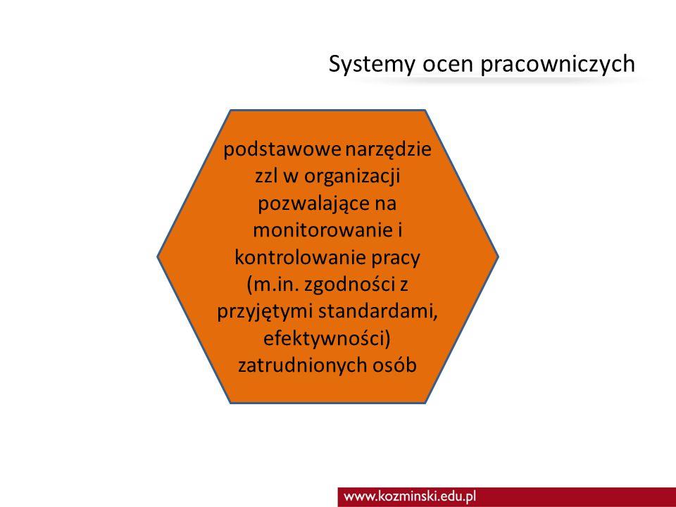 Systemy ocen pracowniczych podstawowe narzędzie zzl w organizacji pozwalające na monitorowanie i kontrolowanie pracy (m.in. zgodności z przyjętymi sta
