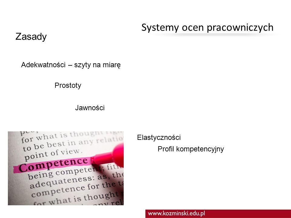 Systemy ocen pracowniczych Zasady Celowości – powiązanie ze strategią Użyteczności – powiązany z działaniami ZZL Powszechności – wszyscy podlegają ocenie Systematyczności Ciągłości – analizy, wnioski Jednolitości - standaryzacja