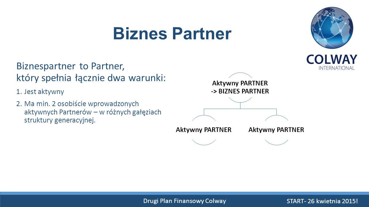 Drugi Plan Finansowy Colway Biznespartner to Partner, który spełnia łącznie dwa warunki: 1.Jest aktywny 2.Ma min. 2 osobiście wprowadzonych aktywnych
