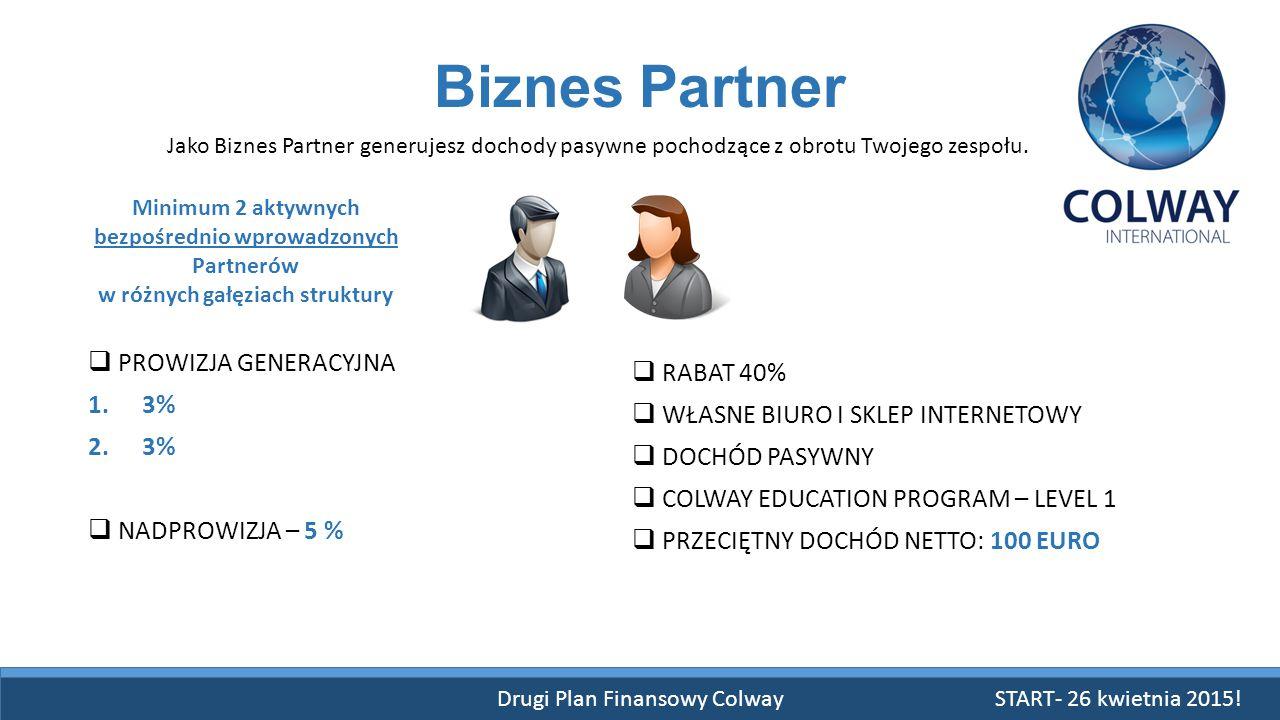 Drugi Plan Finansowy Colway START- 26 kwietnia 2015! Biznes Partner  PROWIZJA GENERACYJNA 1.3% 2.3%  NADPROWIZJA – 5 % Jako Biznes Partner generujes