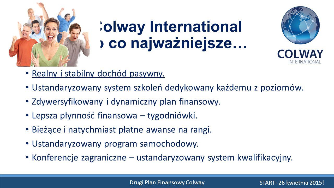Drugi Plan Finansowy Colway Colway International To co najważniejsze… Realny i stabilny dochód pasywny. Ustandaryzowany system szkoleń dedykowany każd