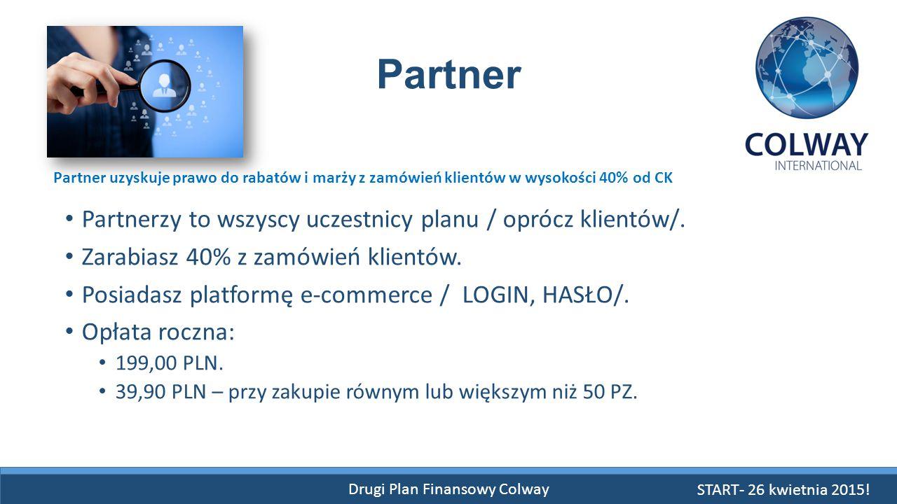 Drugi Plan Finansowy Colway Partner Partnerzy to wszyscy uczestnicy planu / oprócz klientów/. Zarabiasz 40% z zamówień klientów. Posiadasz platformę e