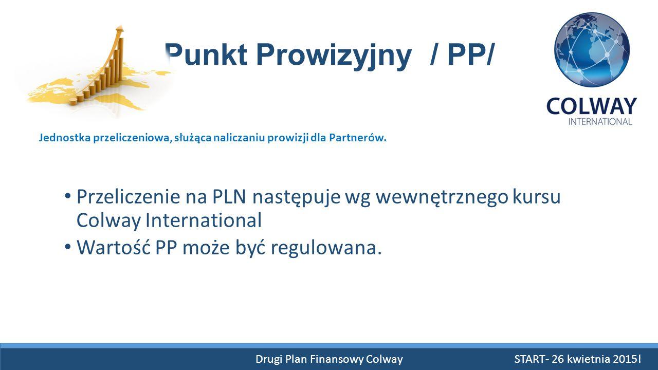 Drugi Plan Finansowy Colway Punkt Prowizyjny / PP/ Przeliczenie na PLN następuje wg wewnętrznego kursu Colway International Wartość PP może być regulo