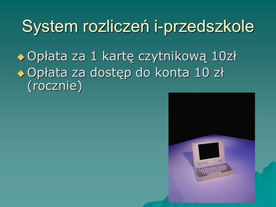 System rozliczeń i-przedszkole  Opłata za 1 kartę czytnikową 10zł  Opłata za dostęp do konta 10 zł (rocznie)