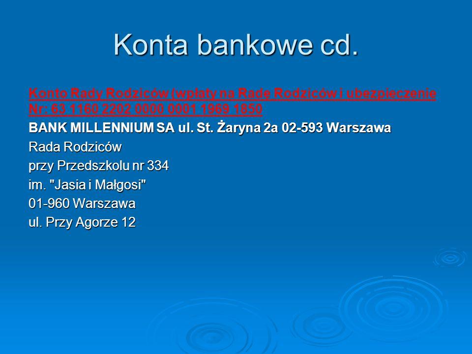Konta bankowe cd. Konto Rady Rodziców (wpłaty na Radę Rodziców i ubezpieczenie Nr: 63 1160 2202 0000 0001 1969 1850 BANK MILLENNIUM SA ul. St. Żaryna