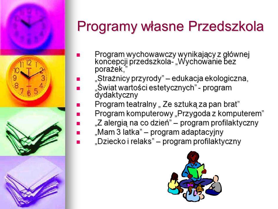 """Programy własne Przedszkola Program wychowawczy wynikający z głównej koncepcji przedszkola- """"Wychowanie bez porażek,"""" Program wychowawczy wynikający z"""