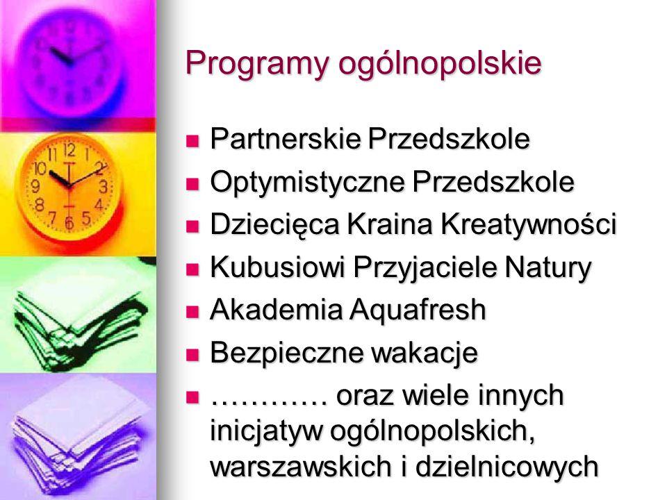Programy ogólnopolskie Partnerskie Przedszkole Partnerskie Przedszkole Optymistyczne Przedszkole Optymistyczne Przedszkole Dziecięca Kraina Kreatywnoś
