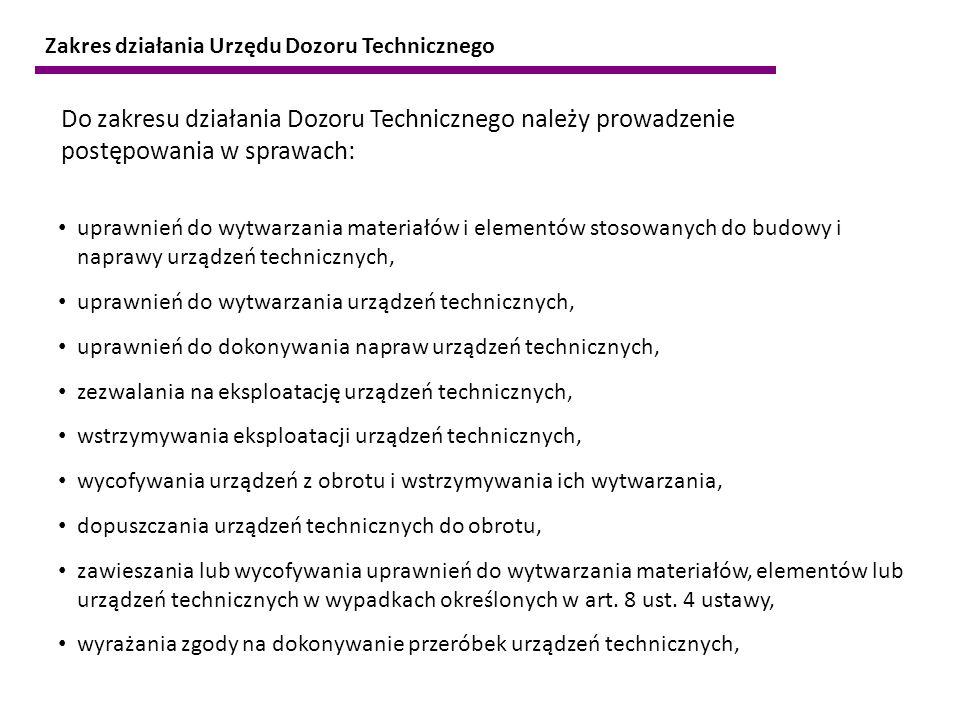 Do zakresu działania Dozoru Technicznego należy prowadzenie postępowania w sprawach: uprawnień do wytwarzania materiałów i elementów stosowanych do bu
