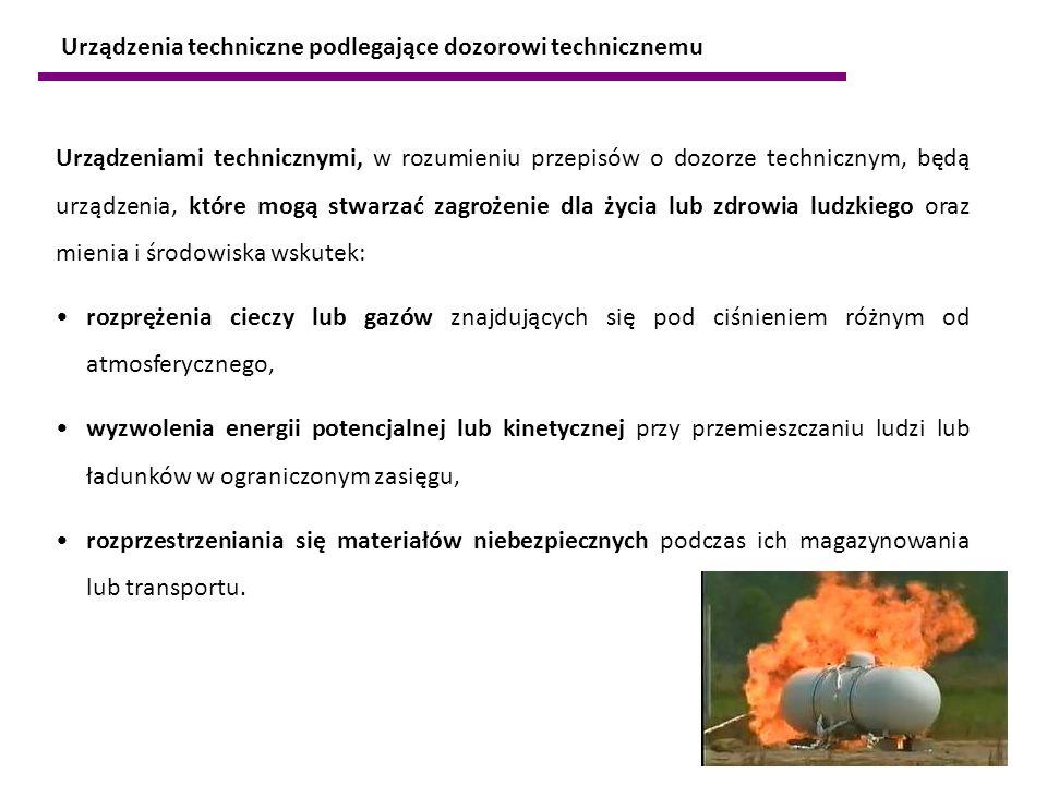 Urządzeniami technicznymi, w rozumieniu przepisów o dozorze technicznym, będą urządzenia, które mogą stwarzać zagrożenie dla życia lub zdrowia ludzkie