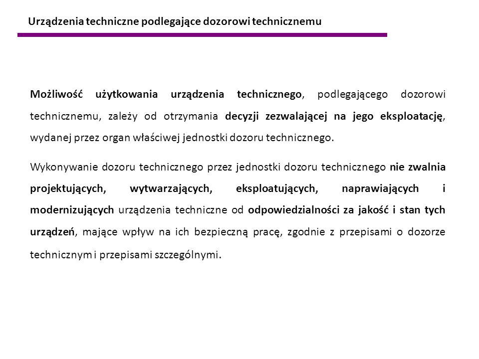 Możliwość użytkowania urządzenia technicznego, podlegającego dozorowi technicznemu, zależy od otrzymania decyzji zezwalającej na jego eksploatację, wy