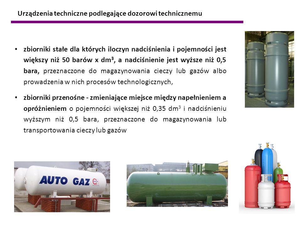 zbiorniki stałe dla których iloczyn nadciśnienia i pojemności jest większy niż 50 barów x dm 3, a nadciśnienie jest wyższe niż 0,5 bara, przeznaczone
