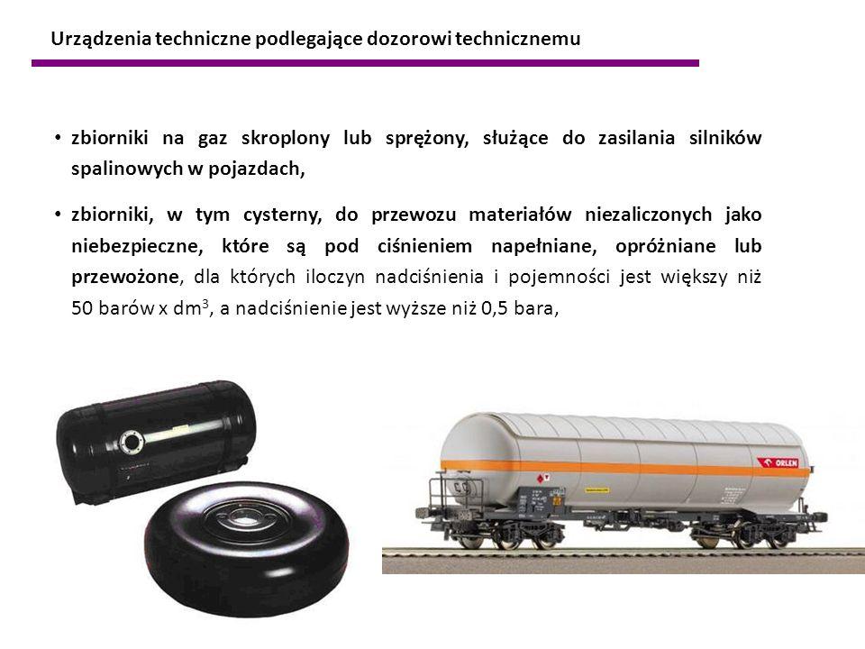 zbiorniki na gaz skroplony lub sprężony, służące do zasilania silników spalinowych w pojazdach, zbiorniki, w tym cysterny, do przewozu materiałów niez