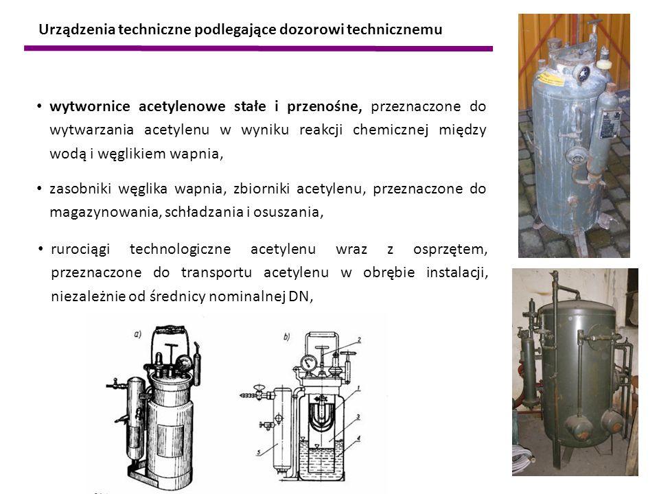 wytwornice acetylenowe stałe i przenośne, przeznaczone do wytwarzania acetylenu w wyniku reakcji chemicznej między wodą i węglikiem wapnia, zasobniki